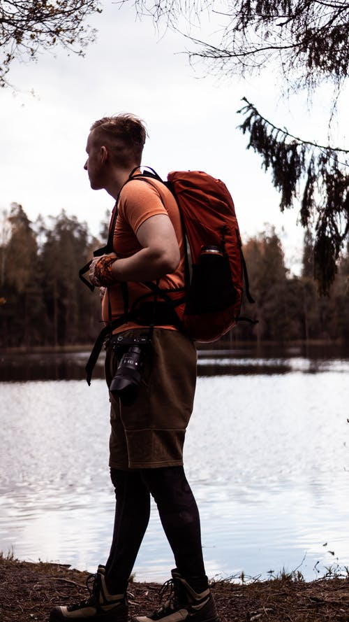 Photo of Man Standing While Carrying a Backpack