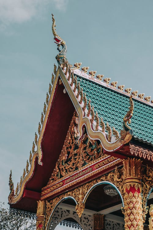Creative decoration of old temple roof in oriental style
