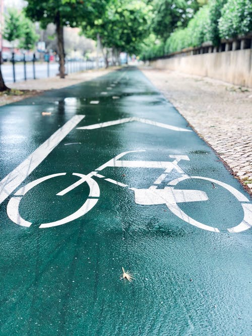 Green and White Bicycle Lane