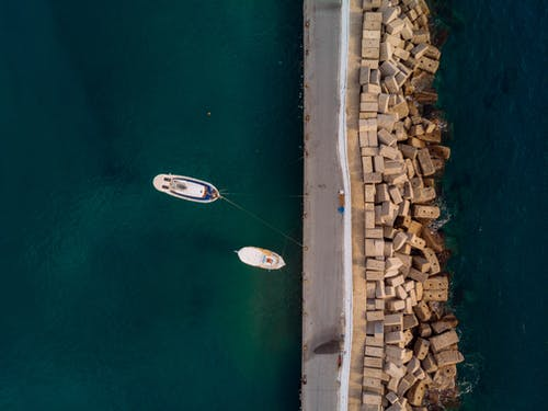 Top View Photo of Boats on Dock