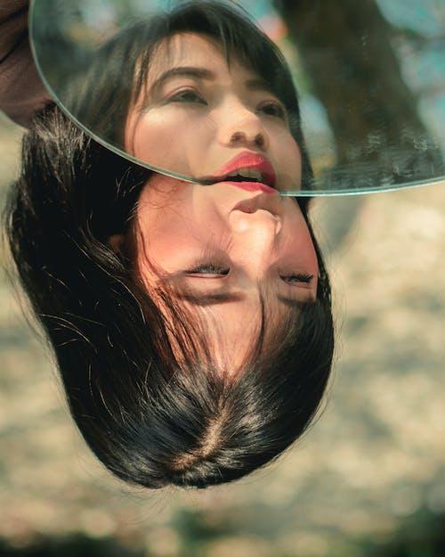 Free stock photo of asian model, face model, mirror