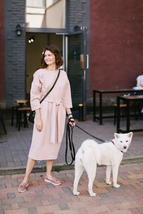 Photo of Woman Wearing Dress While Standing Near Her Dog