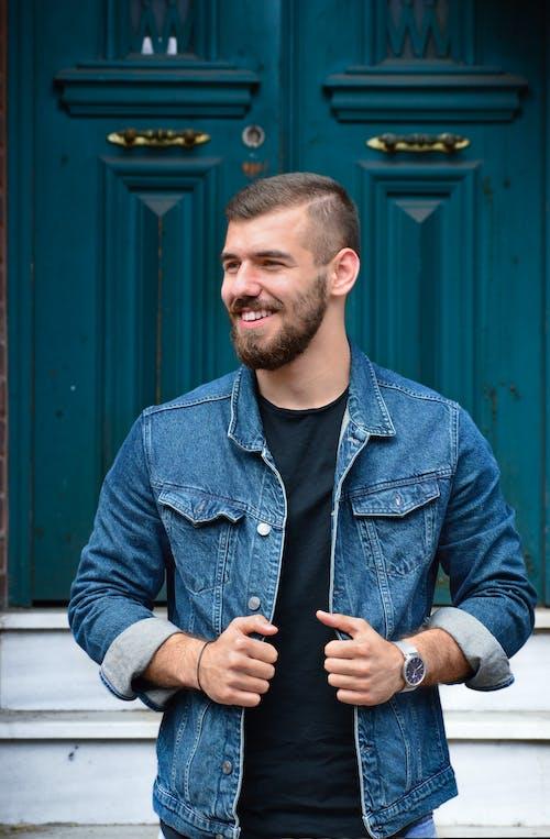 Man in Blue Denim Button Up Jacket