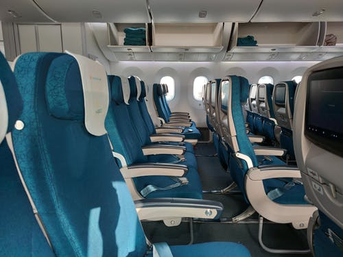Blue and White Airplane Seats