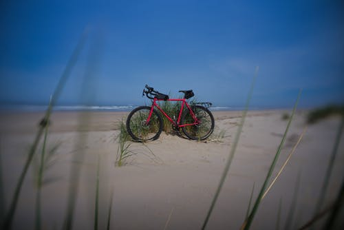 Free stock photo of beach, bike, blue, exploration