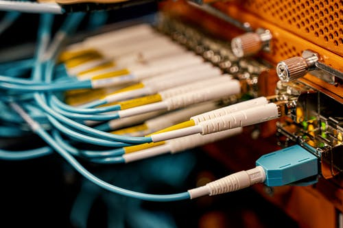 Fiber optic switch with bright connectors in studio