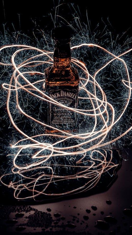Jack Daniels Bottle With White String Lights