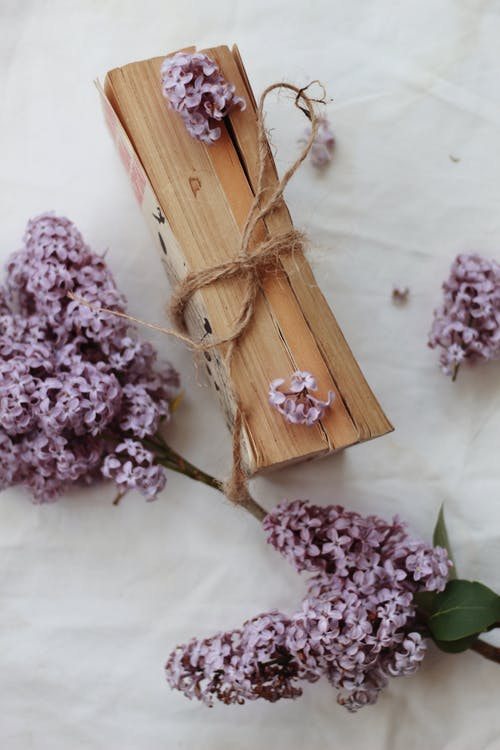 Book on table decorated with lilac twig and petals