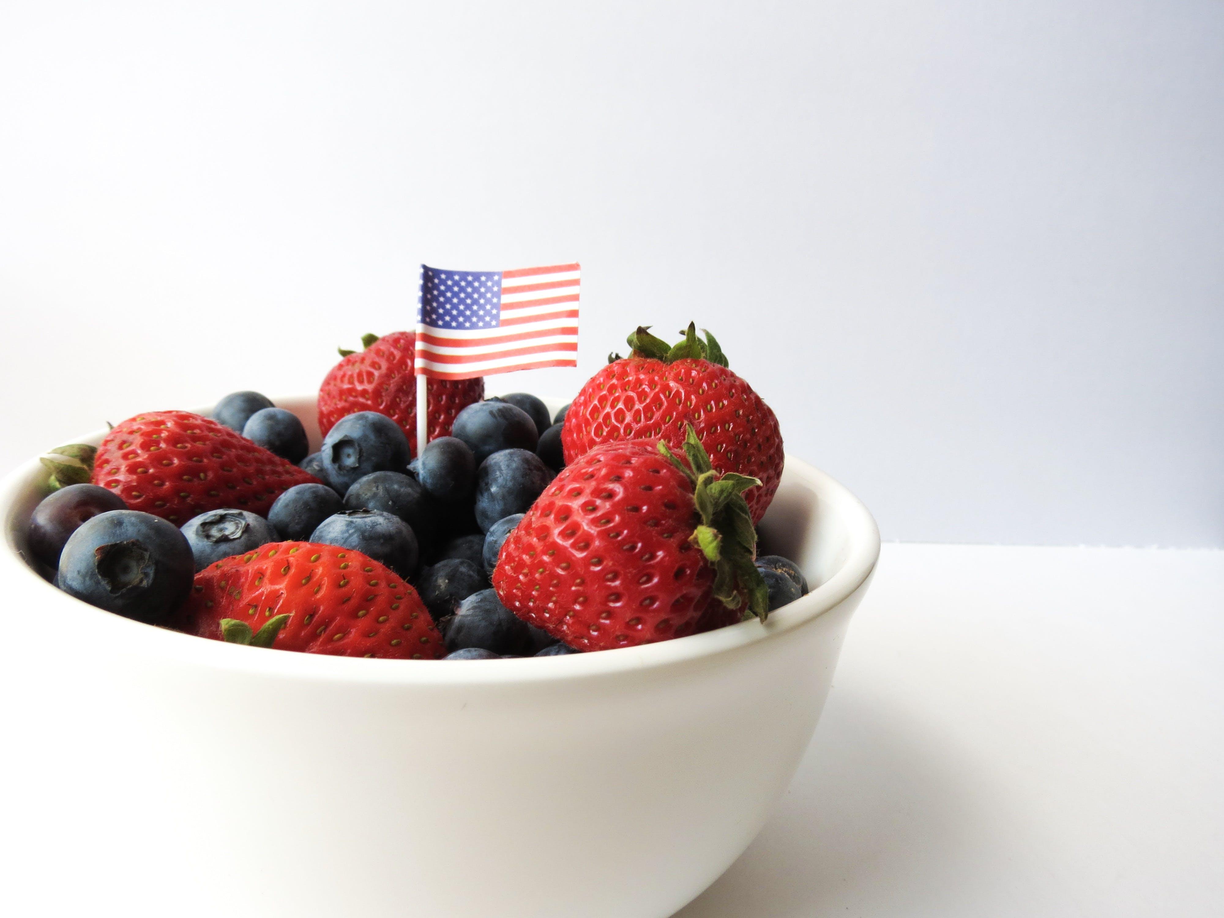American flag, berries, bowl