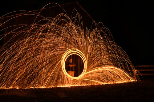 Steel Wool Photography of Person Standing on the Road