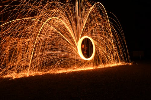 Steel Wool Photography of Man Standing on Road during Night Time