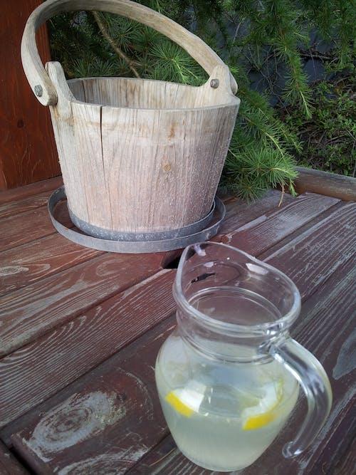 Free stock photo of lemonade, vat, wooden