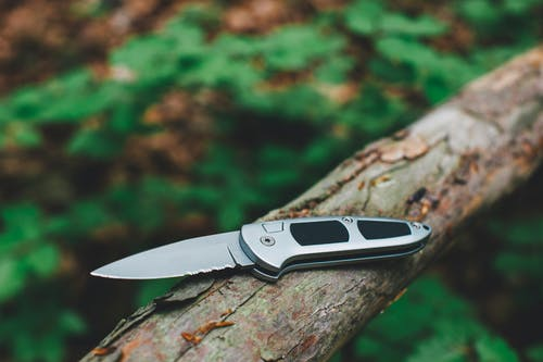 Black and Silver Pocket Knife on Brown Tree Log