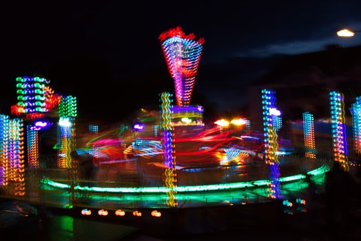 Free stock photo of night, fair, long exposure, backlight