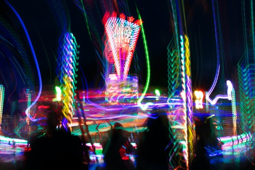 Free stock photo of night, street, fair, long exposure