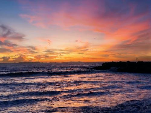 Free stock photo of beach, beach waves, cotton candy sky
