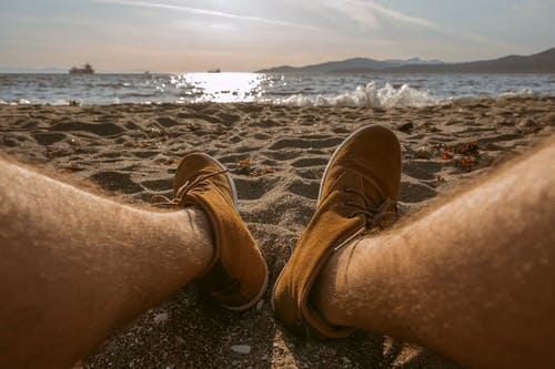 Free stock photo of beach, beach sand, caramel, caramel shoes