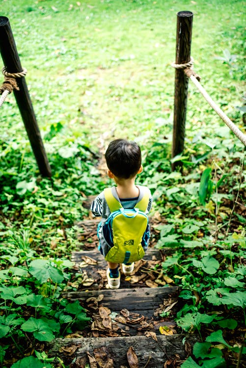 Back View of a Boy with Yellow Backpack Walking on Wooden Stairs