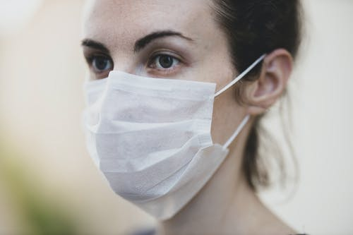 Close-Up View of a Woman Wearing White Face Mask