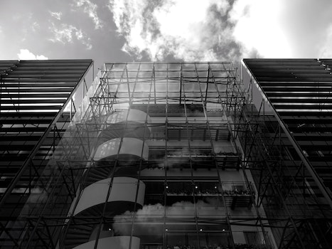 Free stock photo of black-and-white, sky, clouds, construction