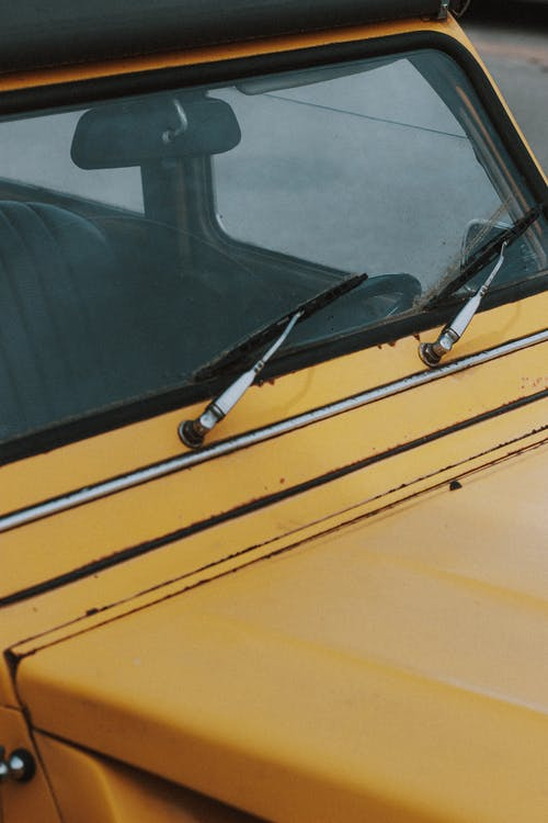 Wipers on windscreen of retro car