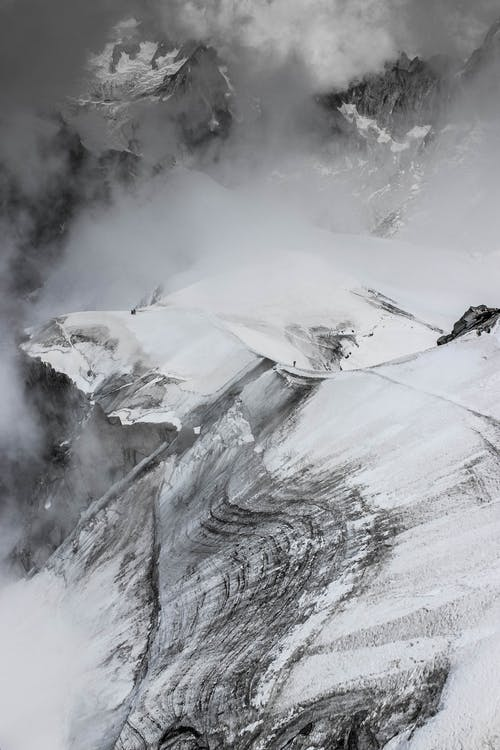 Stiff snowy mountain slope in highlands