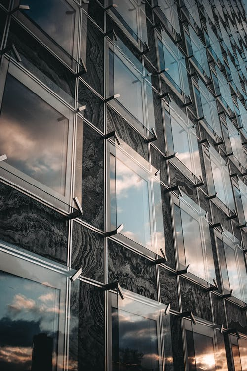 Modern glass building with square glass elements
