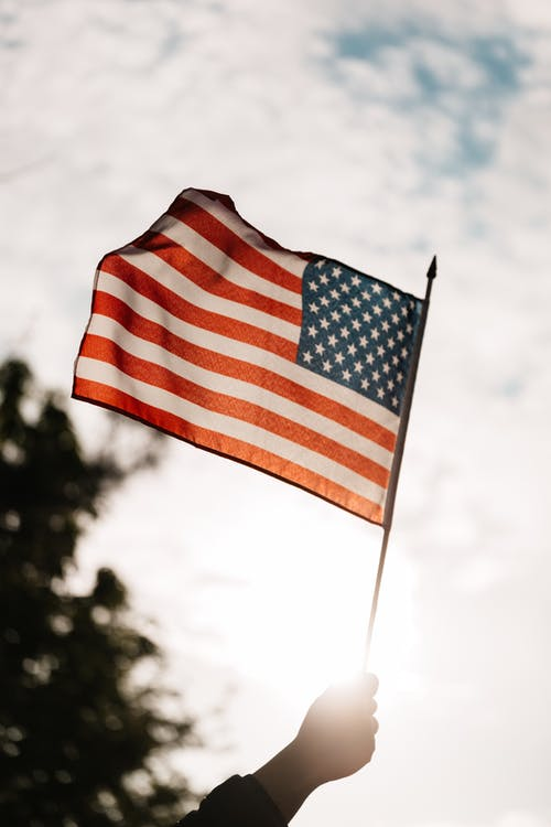 Low angle of crop faceless person holding spiky stick with flag of USA under cloudy sky and tree in back lit on blurred background