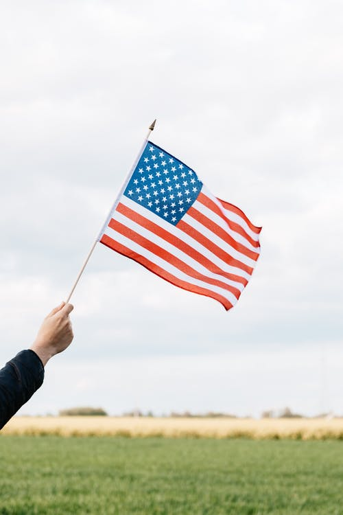 Crop faceless person raising flag of USA above green lawn