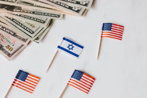 Flags of USA and Israel placed near dollar banknotes