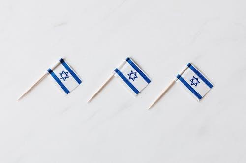 Set of Israeli flags on toothpicks