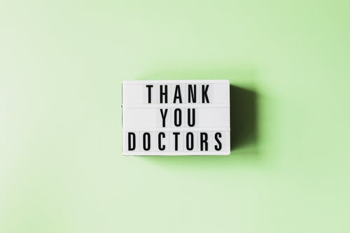 Vintage light box with gratitude message for doctors