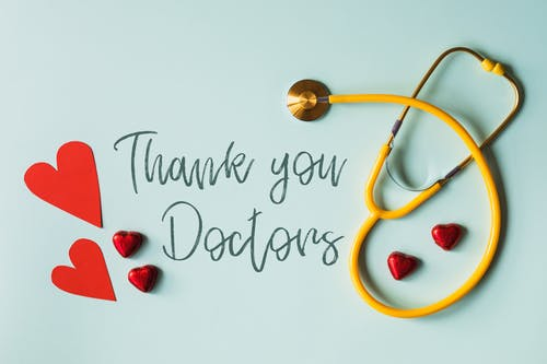Set of gratitude message for doctors with stethoscope and hearts
