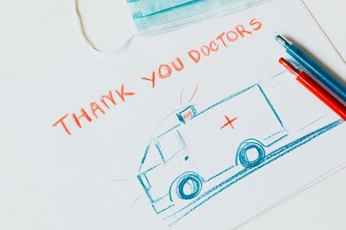 Drawing of an Ambulance with the text Thank you Doctors