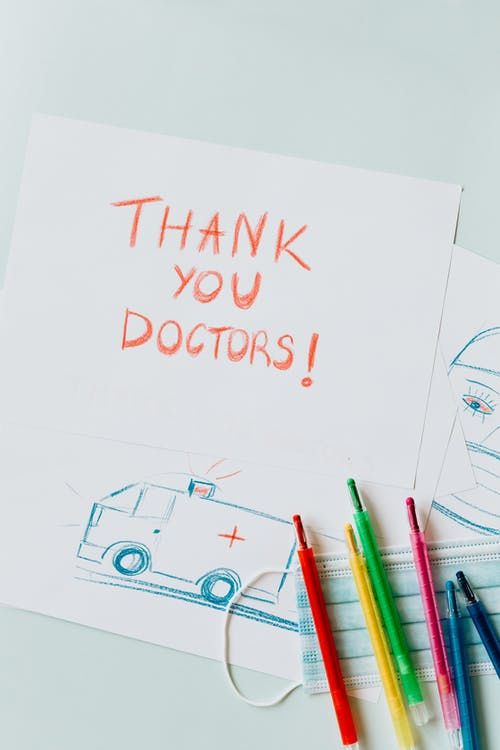 Drawing with the text Thank you Doctors