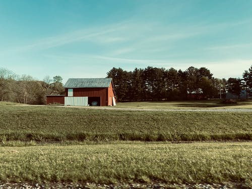 Rural landscape of barn in middle of green meadow