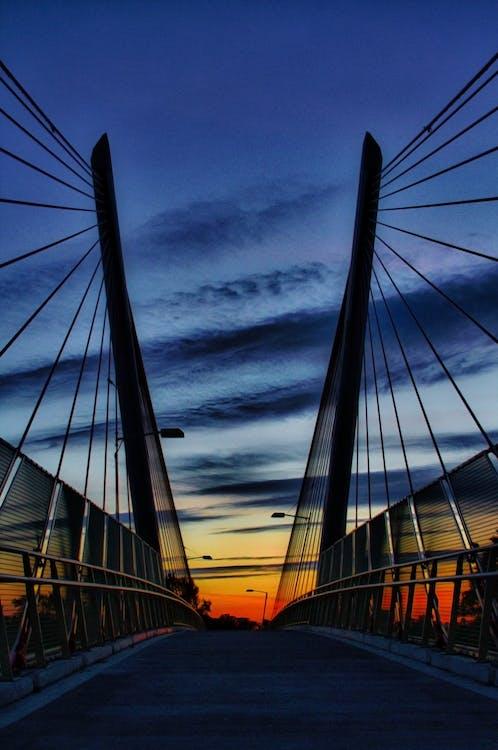 Photograph of Suspension Bridge during Golden Hour