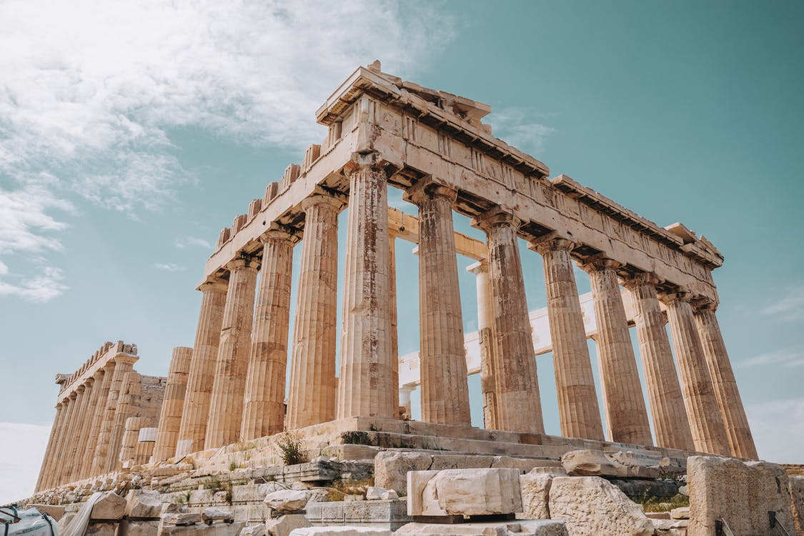 From below of Parthenon monument of ancient architecture and ancient Greek temple located on Athenian Acropolis