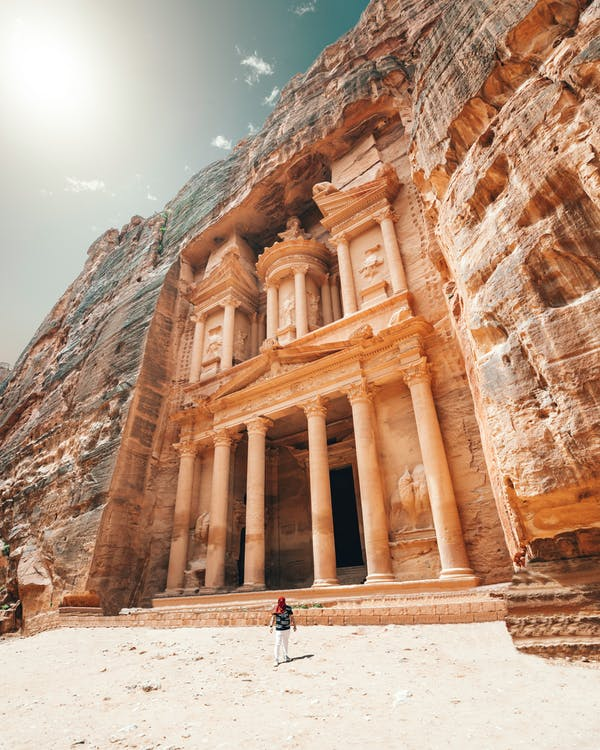 Ancient temple in old city with tall sandstone columns