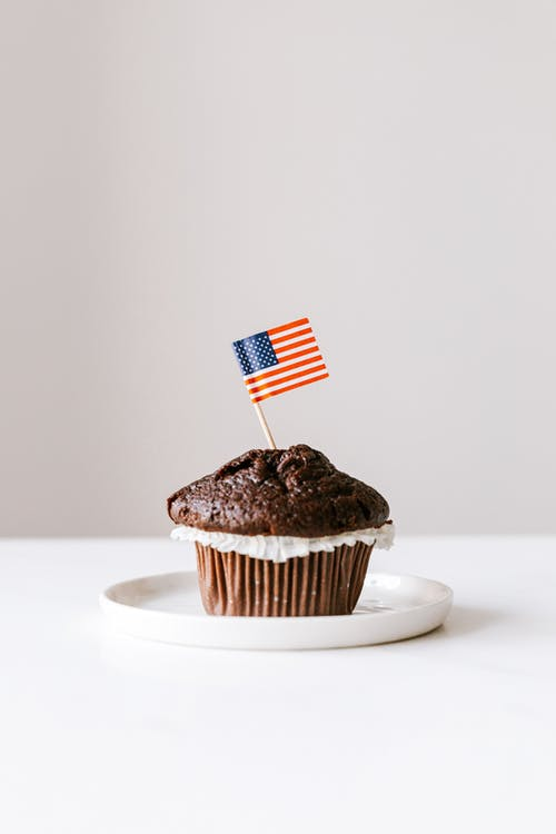 Chocolate cupcake with small toothpick US flag