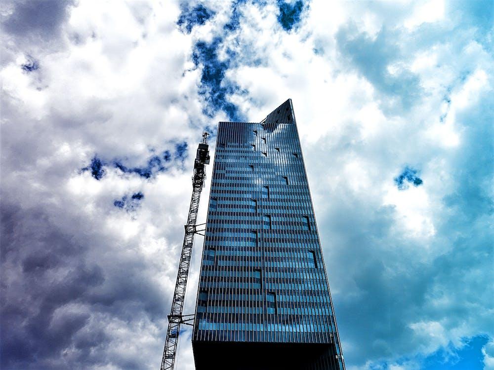 architektura, budynek, chmury