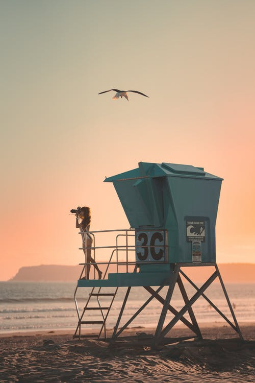 Green Lifeguard Tower on Beach