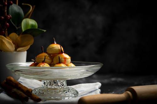 Yummy baked desserts in glass vase