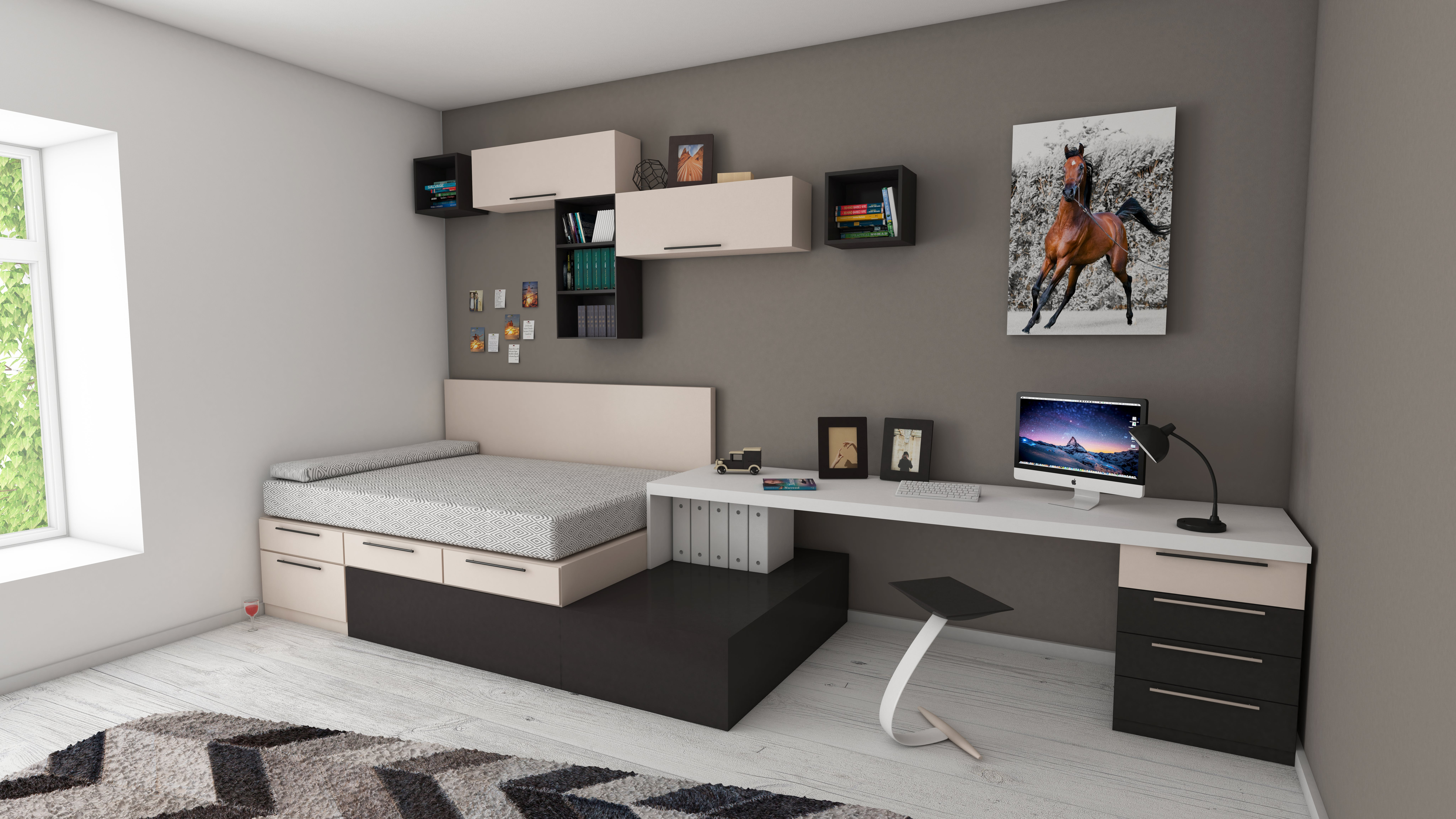 apartment, bed, bedroom