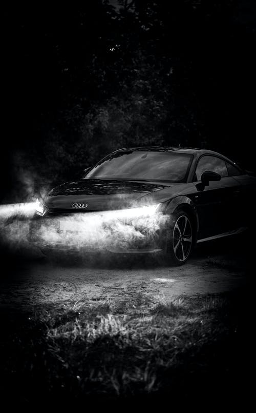 Grayscale Photo of Black Mercedes Benz Coupe