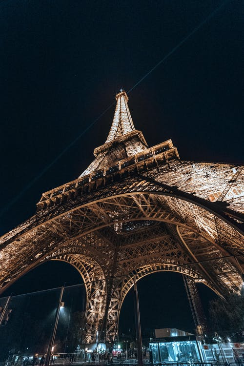 Magnificent Eiffel Tower with shiny lamps at night