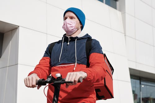 Delivery Man Wearing a Face Mask