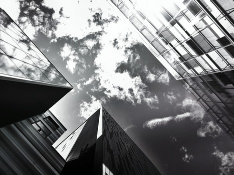 Free stock photo of black-and-white, city, buildings, glass