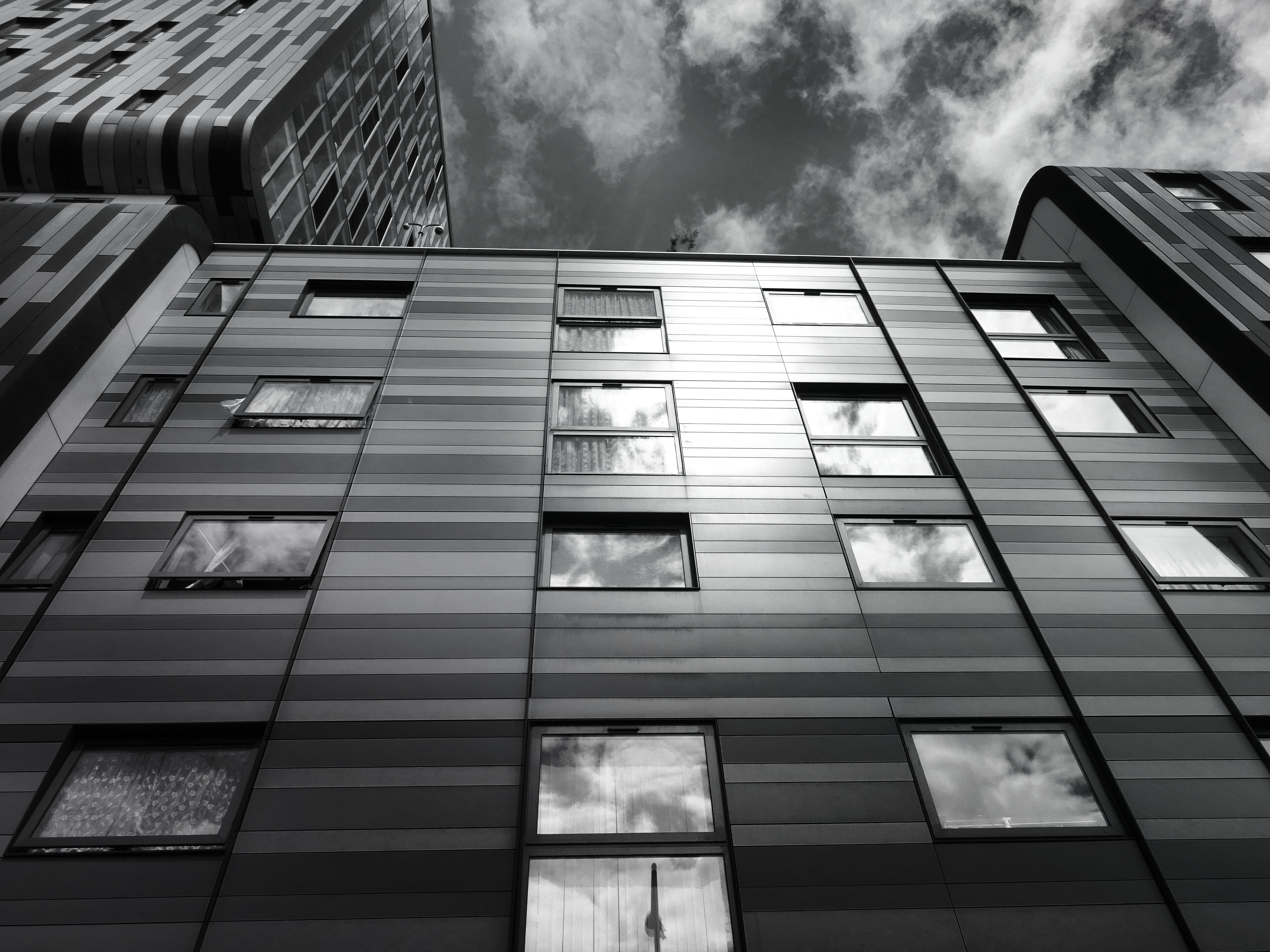 architectural design, black-and-white, buildings