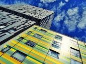 sky, clouds, buildings